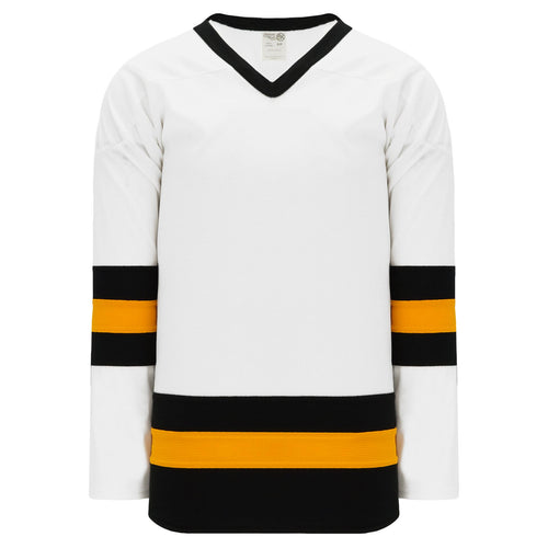 H6500-436 White/Black/Gold League Style Blank Hockey Jerseys