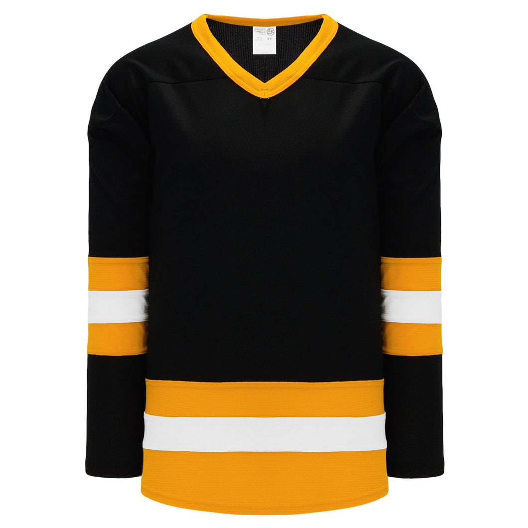 H6500-437 Black/Gold/White League Style Blank Hockey Jerseys