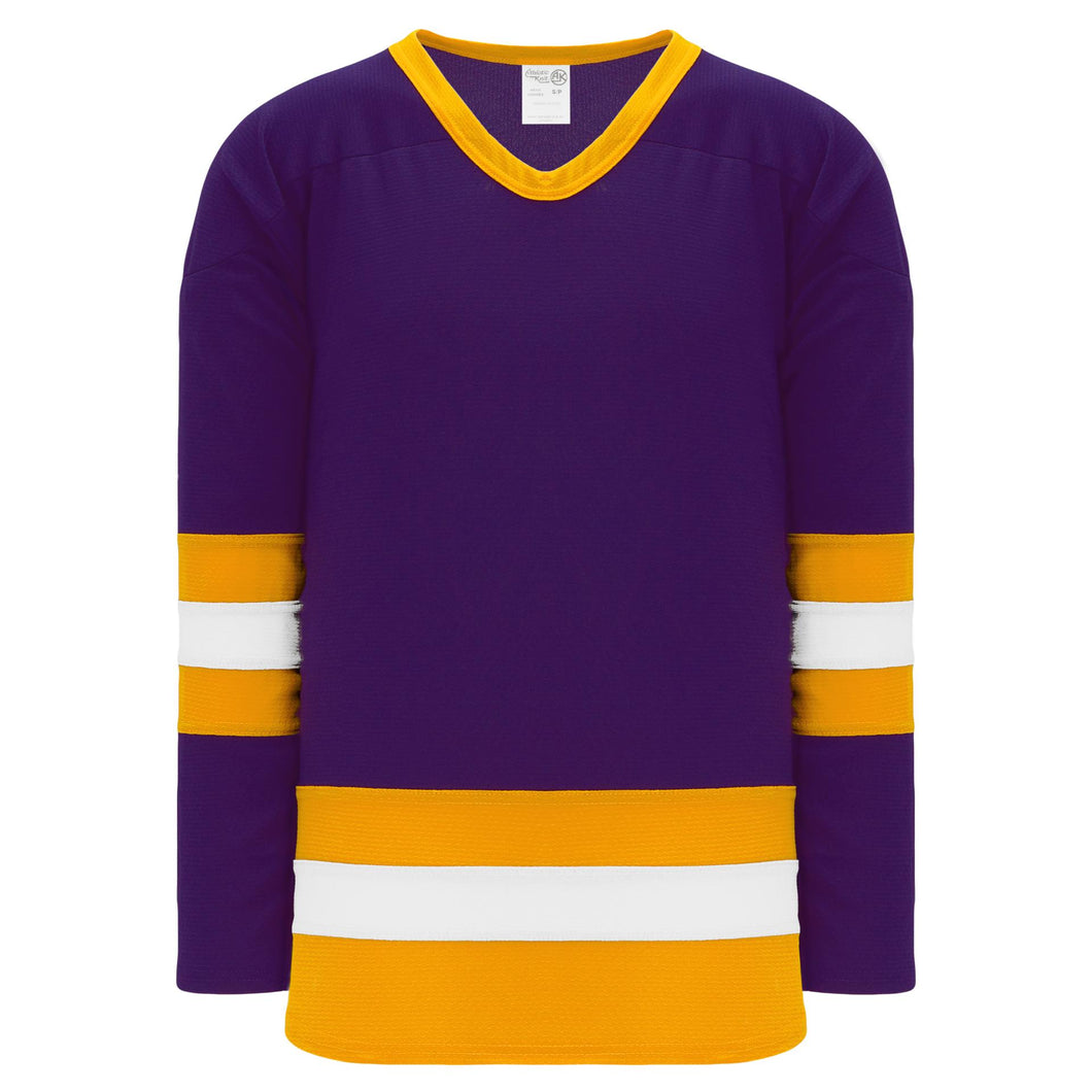 H6500-441 Purple/Gold/White League Style Blank Hockey Jerseys