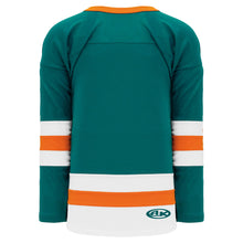 H6500-458 Teal/White/Orange League Style Blank Hockey Jerseys