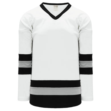 H6500-627 White/Black/Grey League Style Blank Hockey Jerseys