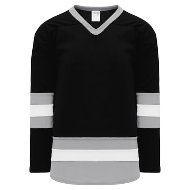 H6500-918 Black/Grey/White League Style Blank Hockey Jerseys