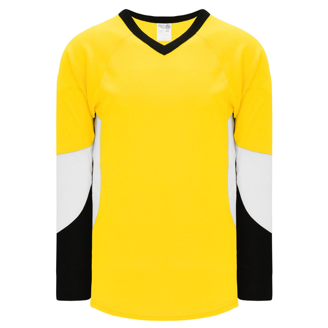 H6600-256 Maize/Black/White League Style Blank Hockey Jerseys