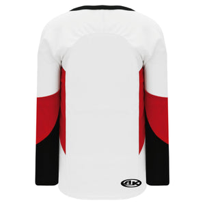 H6600-415 White/Black/Red League Style Blank Hockey Jerseys