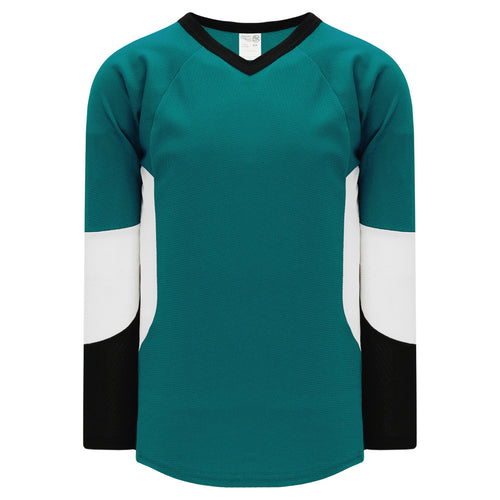 H6600-457 Teal/Black/White League Style Blank Hockey Jerseys