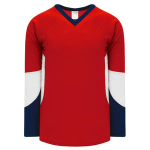 H6600-471 Red/Navy/White League Style Blank Hockey Jerseys