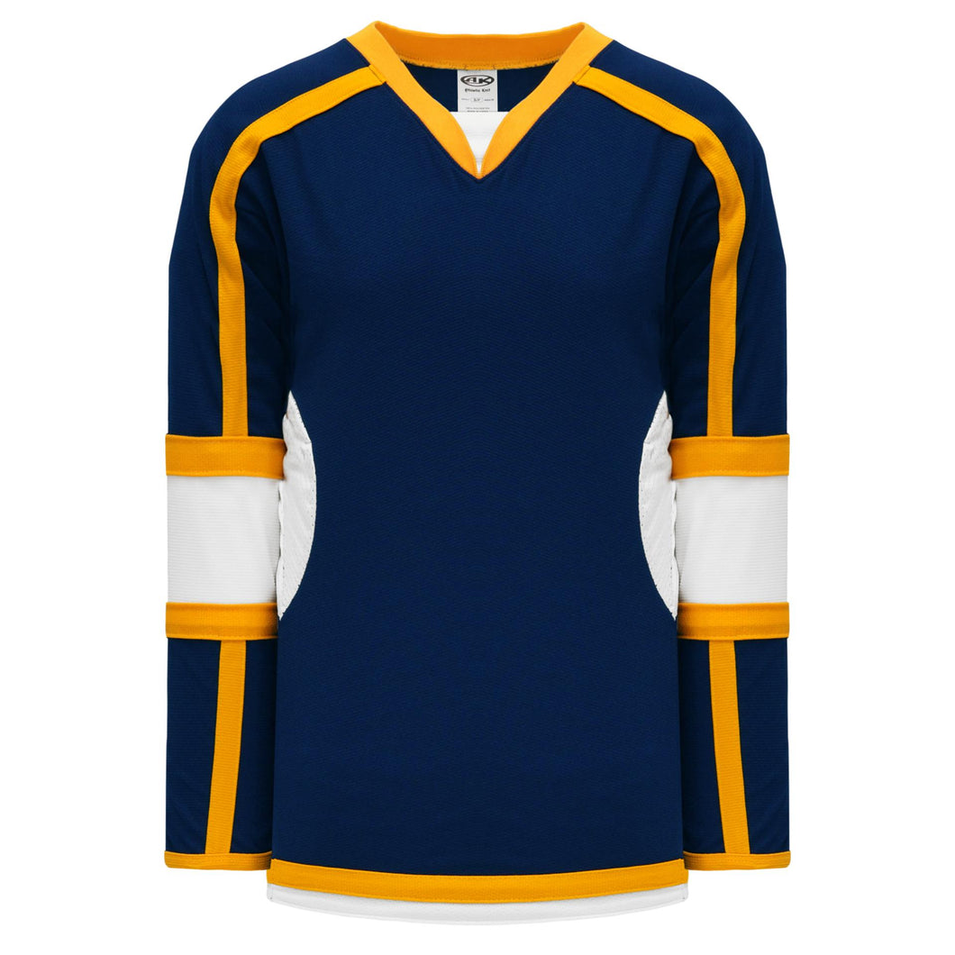 H7000-460 Navy/White/Gold League Style Blank Hockey Jerseys
