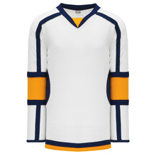 H7000-461 White/Gold/Navy League Style Blank Hockey Jerseys