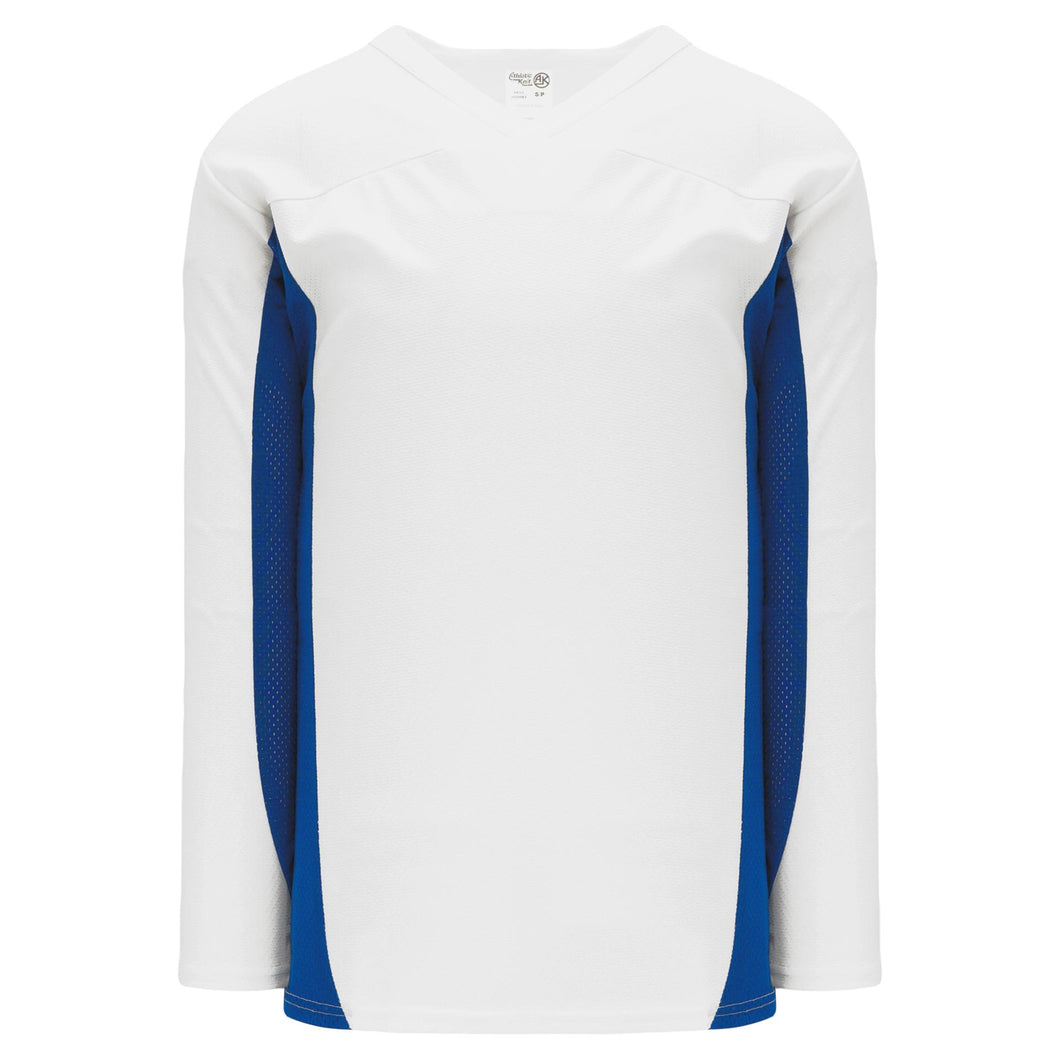 H7100-207 White/Royal League Style Blank Hockey Jerseys