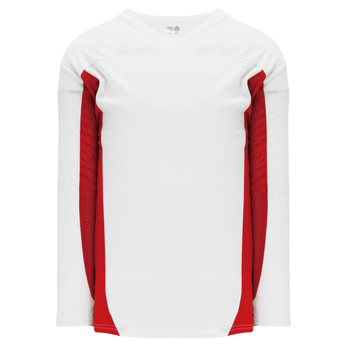 H7100-209 White/Red League Style Blank Hockey Jerseys
