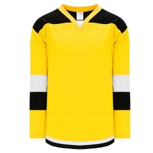 H7400-256 Maize/Black/White League Style Blank Hockey Jerseys