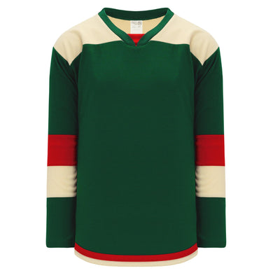 H7400-277 Dark Green/Sand/Red League Style Blank Hockey Jerseys