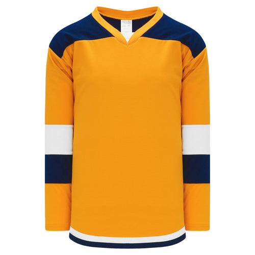 H7400-431 Gold/Navy/White League Style Blank Hockey Jerseys