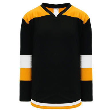 H7400-437 Black/Gold/White League Style Blank Hockey Jerseys