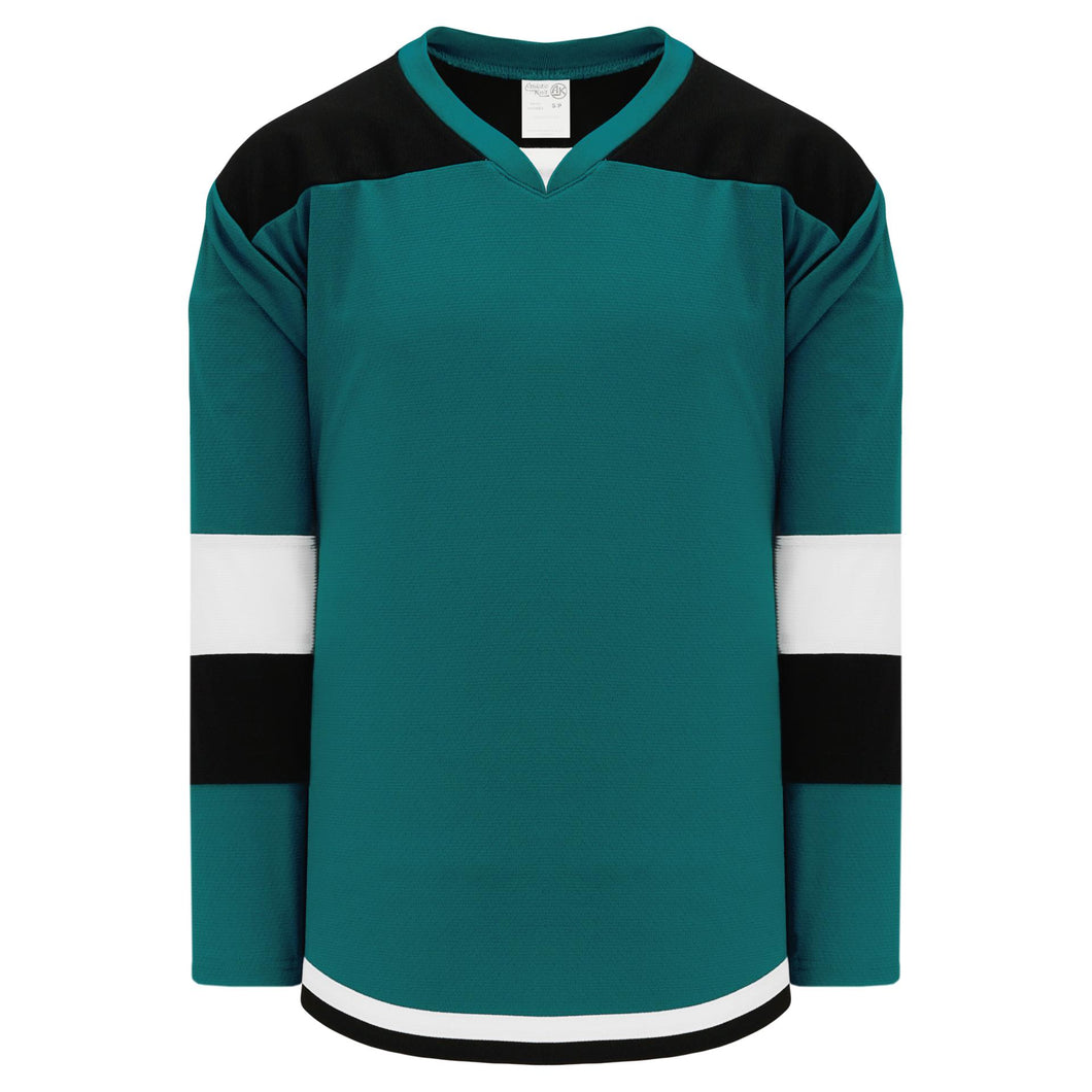 H7400-457 Teal/Black/White League Style Blank Hockey Jerseys