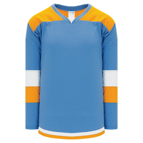 H7400-473 Sky/Gold/White League Style Blank Hockey Jerseys