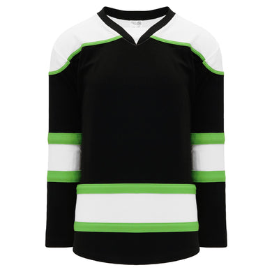 H7500-247 Black/White/Lime Green League Style Blank Hockey Jerseys