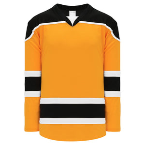 H7500-329 Gold/Black/White League Style Blank Hockey Jerseys