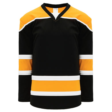 H7500-437 Black/Gold/White League Style Blank Hockey Jerseys