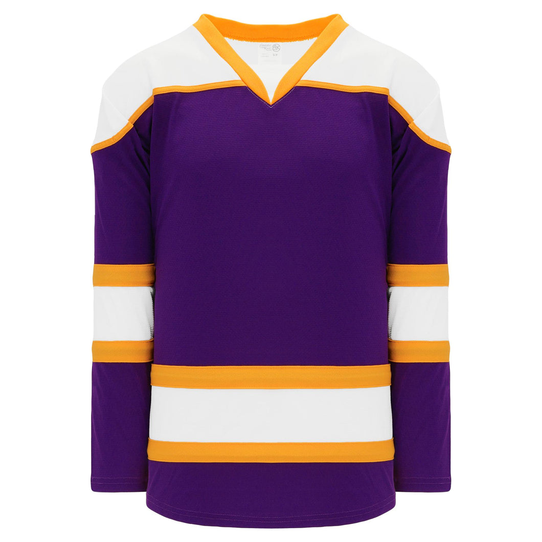 H7500-441 Purple/White/Gold League Style Blank Hockey Jerseys