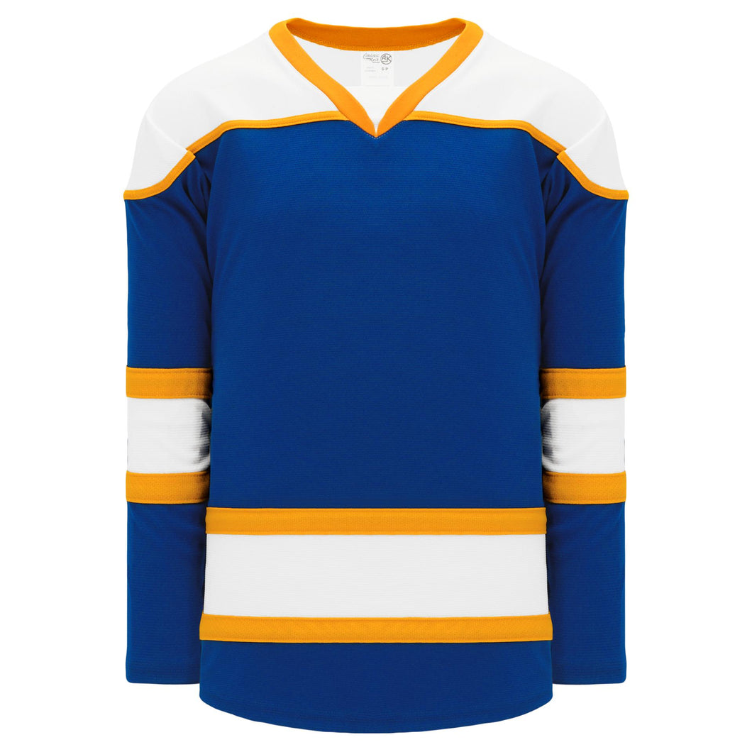 H7500-447 Royal/White/Gold League Style Blank Hockey Jerseys
