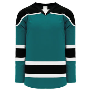 H7500-457 Teal/Black/White League Style Blank Hockey Jerseys