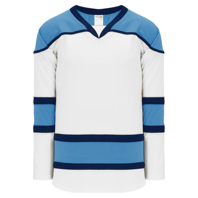H7500-474 White/Sky/Navy League Style Blank Hockey Jerseys