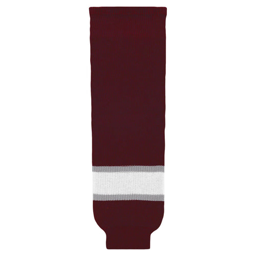 HS630-343 Maroon/Grey/White Hockey Socks