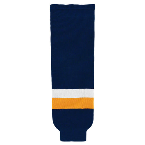 HS630-422 Navy/Gold/White Hockey Socks