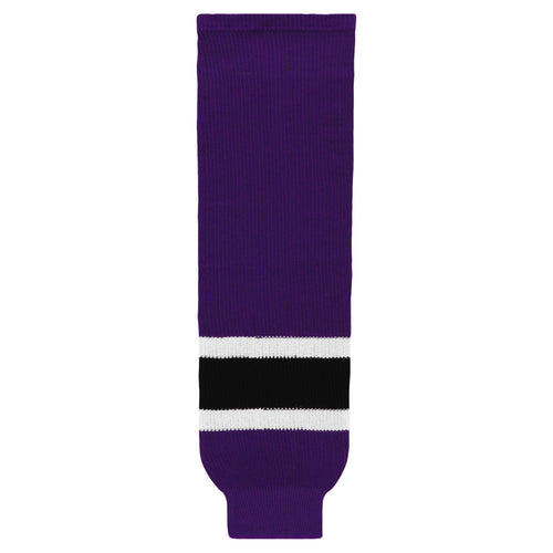 HS630-438 Purple/White/Black Hockey Socks
