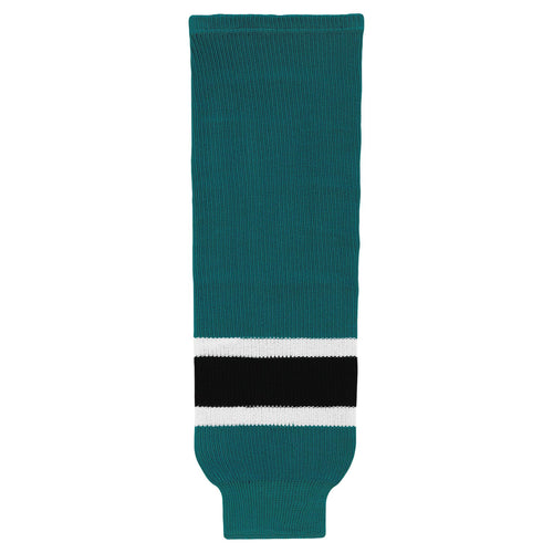 HS630-457 Teal/White/Black Hockey Socks