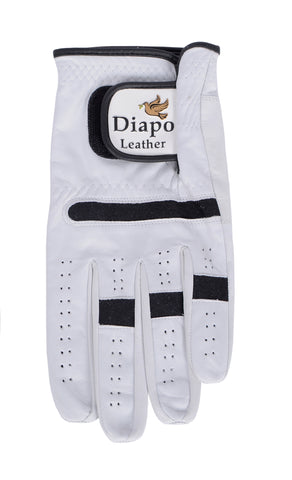 Diapo Leather White-Black Calfskin Golf Gloves  DL - GG7002