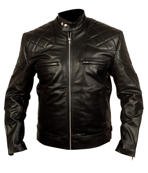 Diapo Leather Men's Black Vegetable Tanned Leather Jacket   DL - MLJ1096