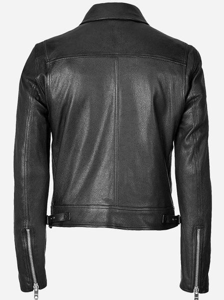 Diapo Leather Men's Black Cowhide Leather Jacket DL - MLJ1139
