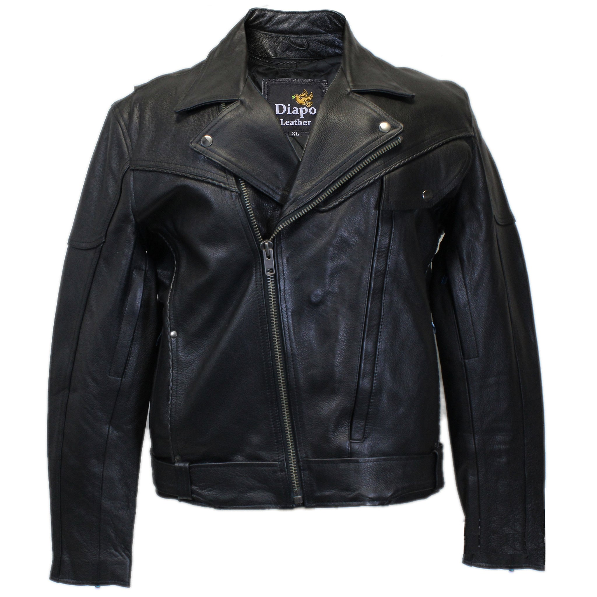 Diapo Leather Men's All Season's Motorcycle Cowhide Leather Jacket   DL - MMLJ1171