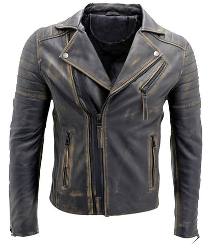 Diapo Leather Men's Distress Cowhide Motorcycle Leather Jacket DL-MMLJ2073