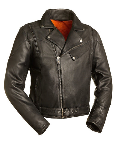 Diapo Leather Men's Black Motorcycle Vegetable Tanned Leather Jacket DL - MMLJ2080
