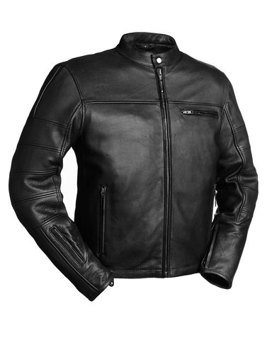 Diapo Leather Men's Black Cowhide Motorcycle Leather Jacket   DL - MMLJ2081