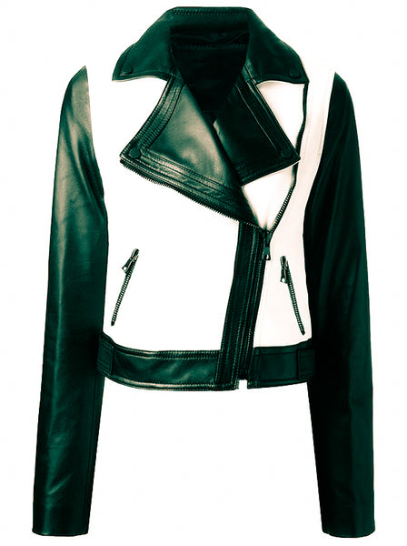 Diapo Leather Women's Black/White Moto Cowhide Leather Jacket D L- WMLJ2021