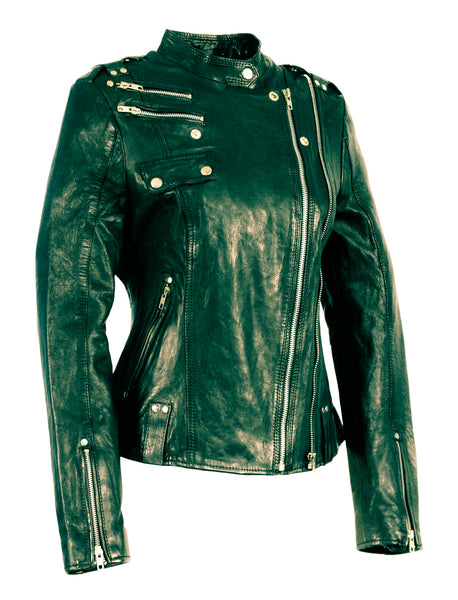 Diapo Leather Women's Black Moto Cowhide Leather Jacket  WMLJ2022