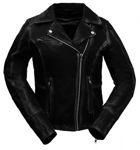 Diapo Leather Women's Motorcycle Vegetable Tanned Leather Jacket  WMLJ2028