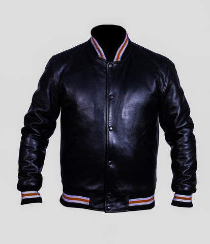 Diapo Leather Men's  Black Bomber Cowhide Leather Jacket    DL - MBLJ1309