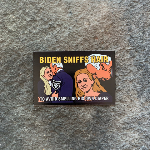 Biden Sniffs Hair Vinyl Decal