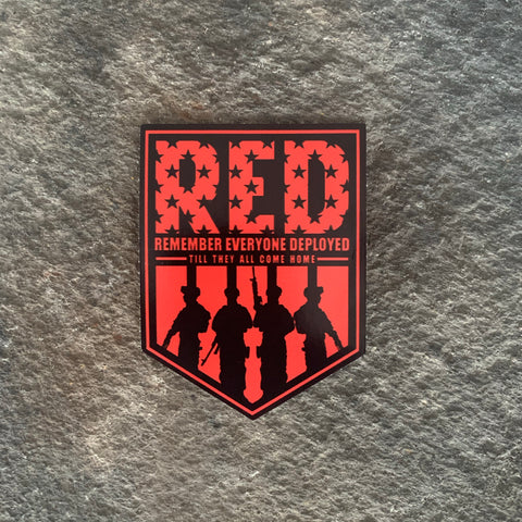 Remember Everyone Deployed Vinyl Decal-  Red/Black Shield