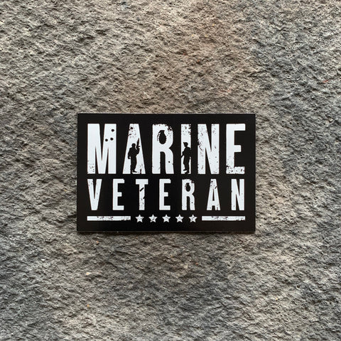 Marine Veteran Black & White Vinyl Decal