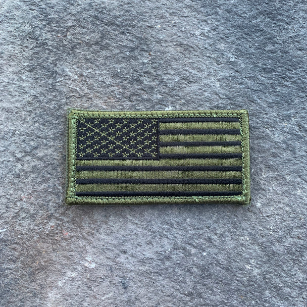 NEW!  USA Flag embroidered Olive Drab