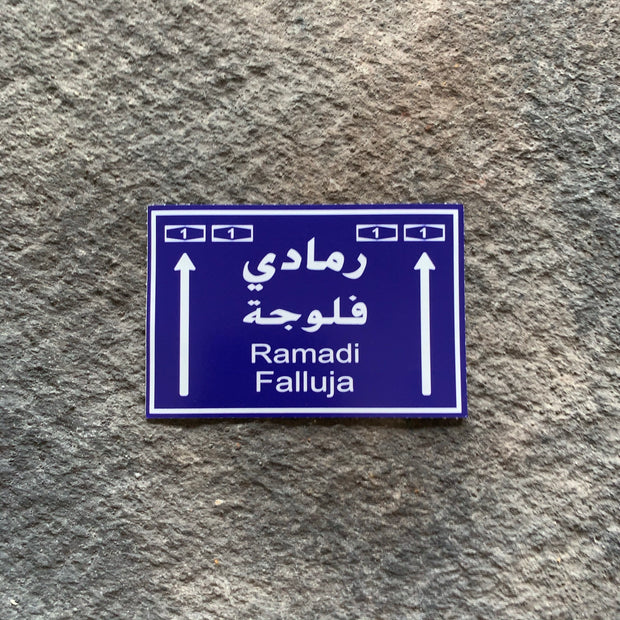 Ramadi/Falluja Road sign Vinyl Decals