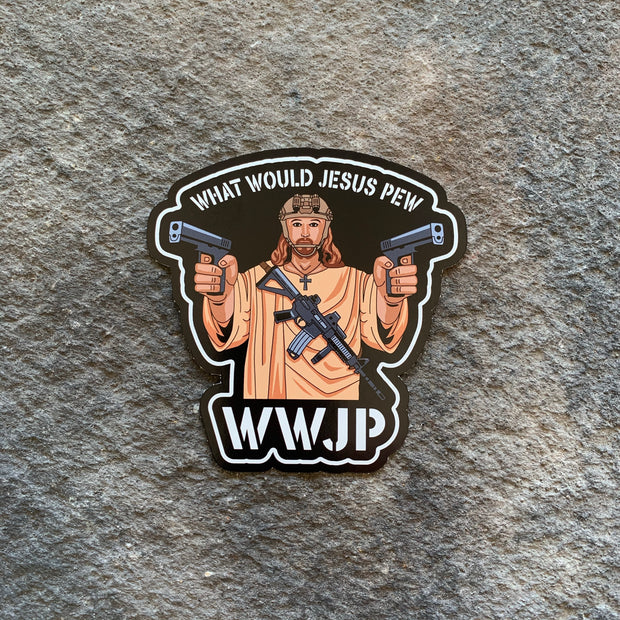 WWJP- What would Jesus Pew Vinyl Decal