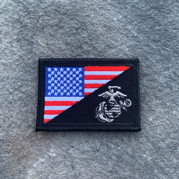 NEW!  USA/USMC Flag embroidered