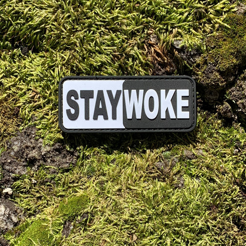 STAY WOKE Black and White PVC Morale Patch
